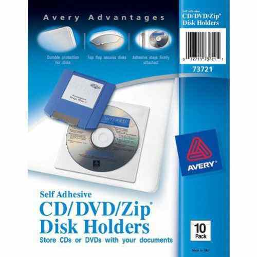 Avery Self-Adhesive CD-DVD-Zip Disk Holders 10pk (AVE-73721) Image 1
