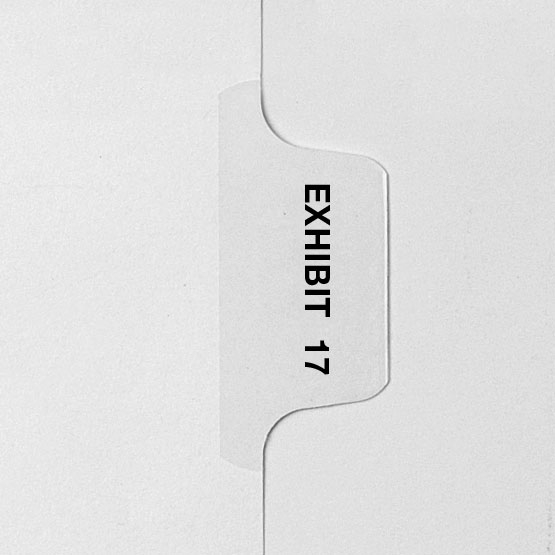 EXHIBIT 17 - Avery Style Letter Size Side Tab Legal Indexes - 25pk (HCM30017) Image 1