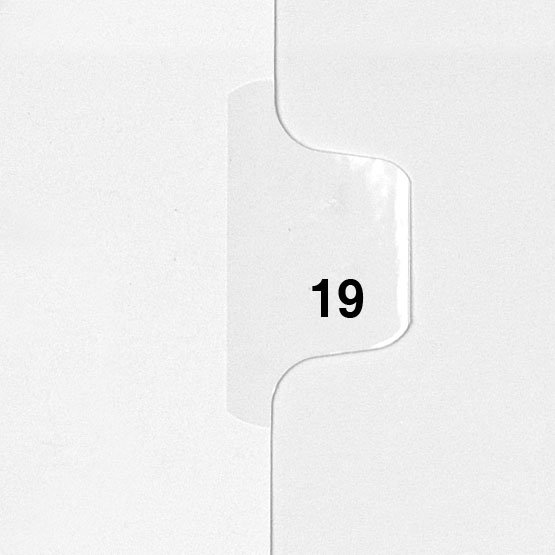 19 - Avery Style Single Number Letter Size Side Tab Legal Indexes - 25pk (HCM80019), Index Dividers Image 1