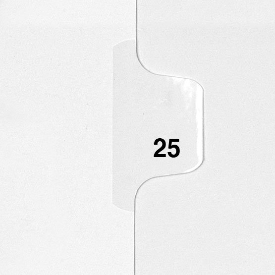 25 - Avery Style Single Number Letter Size Side Tab Legal Indexes - 25pk (HCM80025) Image 1
