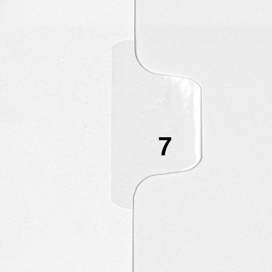 7 - Avery Style Single Number Letter Size Side Tab Legal Indexes - 25pk (HCM80007), Index Dividers Image 1