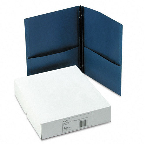 Avery Two Pocket Folder with Fasteners Dark Blue 25pk (AVE-47975) Image 1