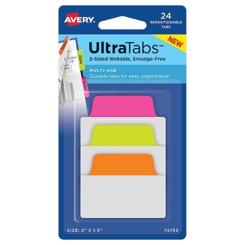 Ultratabs Neon Colored Repositionable Sided Writable Tabs Image 1
