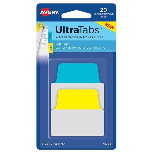 "Avery UltraTabs 2"" x 1-3/4"" Primary Colored Repositionable 2-Sided Writable Big Tabs 20pk (AVE-74765) Image 1"