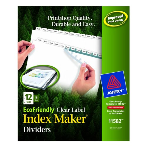 Avery White 12-Tab Index Maker EcoFriendly Clear Label Dividers 5 sets (AVE-11582) Image 1