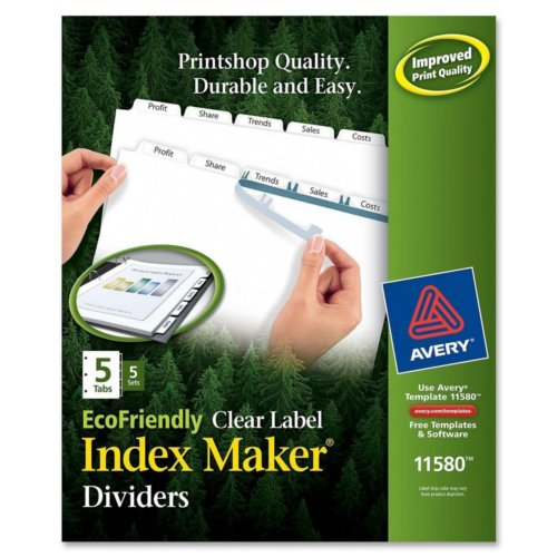 Avery White 5-Tab Index Maker EcoFriendly Clear Label Dividers 5 sets (AVE-11580) Image 1