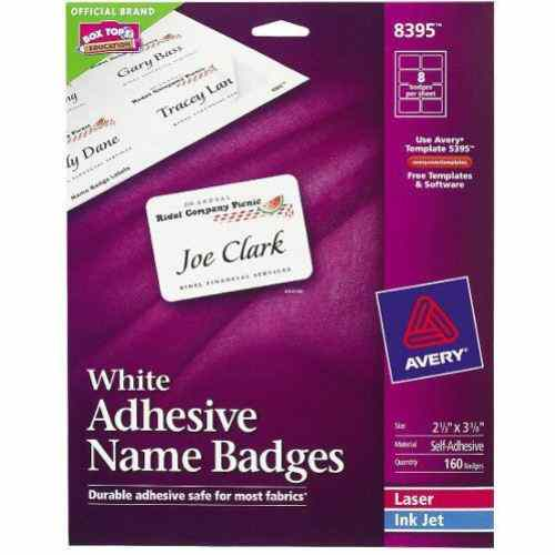 "Avery White Name Badge Label 2-1/3"" x 3-3/8"" 160pk (AVE-8395) Image 1"