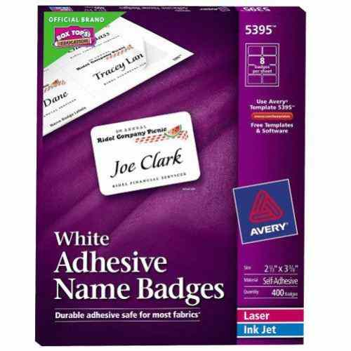 White Avery Name Badge Labels Image 1