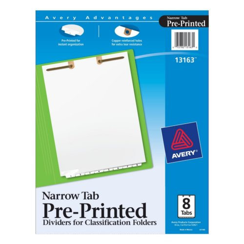 Avery White Narrow Bottom 1-8 Tab Pre-printed Dividers for Classification Folders 1 set (AVE-13163)