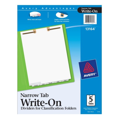 Avery White Narrow Bottom 5-Tab Write-On Dividers for Classification Folders 1 set (AVE-13164), Index Tabs Image 1