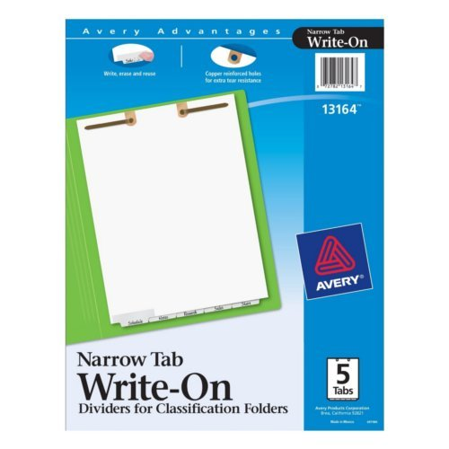 Avery White Narrow Bottom 5-Tab Write-On Dividers for Classification Folders 1 set (AVE-13164) Image 1