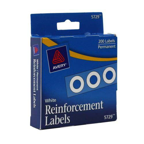 Avery White Self-Adhesive Hole Reinforcements 200pk (AVE-05729) - $1.53 Image 1