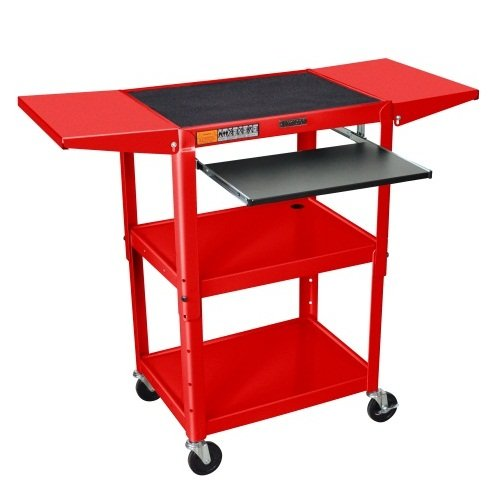 Luxor Red Adjustable Height Metal Cart with Keyboard Tray and Drop Leaf Shelves (AVJ42KBDL-RD) Image 1
