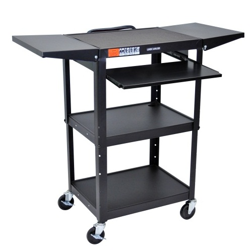 Luxor Black Adjustable Height Metal Cart with Keyboard Tray and Drop Leaf Shelves (AVJ42KBDL) Image 1