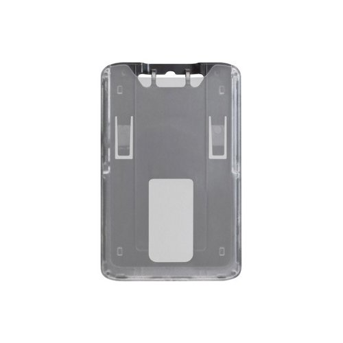 B-Holder Black 1-Card Rigid Plastic Vertical ID Badge Holder - 50pk (1840-6641) Image 1