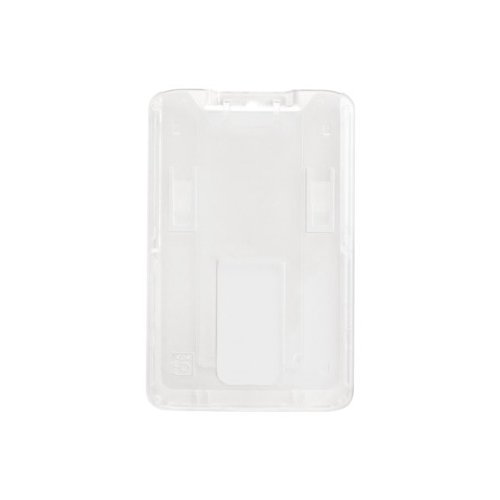 B-Holder Clear 1-Card Rigid Plastic Vertical ID Badge Holder - 50pk (1840-6640) Image 1