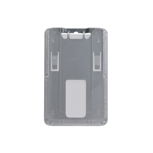 B-Holder Metallic Gray 1-Card Rigid Plastic Vertical ID Badge Holder - 50pk (1840-6647) Image 1