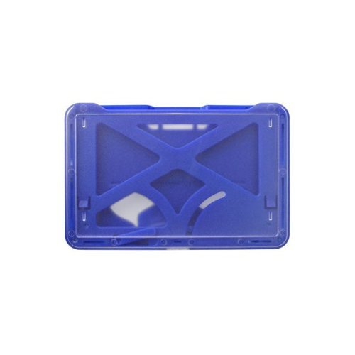 B-Holder Metallic Blue 3-Card Rigid Plastic Horizontal ID Badge Holder - 50pk (1840-6672), Id Supplies Image 1