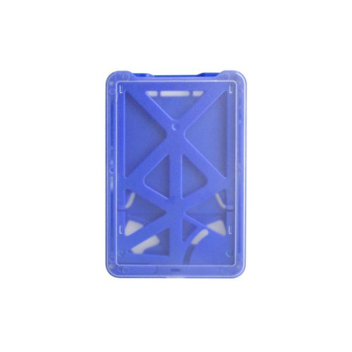 B-Holder Metallic Blue 3-Card Rigid Plastic Vertical ID Badge Holder - 50pk (1840-6662), Id Supplies Image 1
