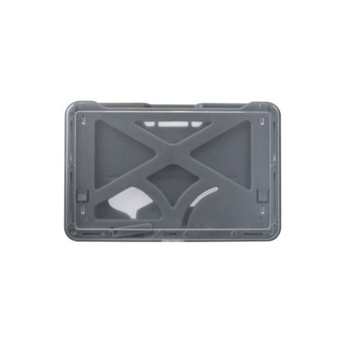 B-Holder Metallic Gray 3-Card Rigid Plastic Horizontal ID Badge Holder - 50pk (1840-6677), Id Supplies Image 1