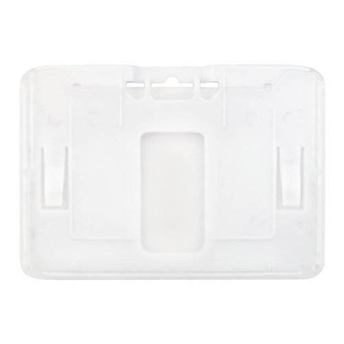 B-Holder Metallic White 1-Card Rigid Plastic Horizontal ID Badge Holder - 50pk (1840-6658) Image 1