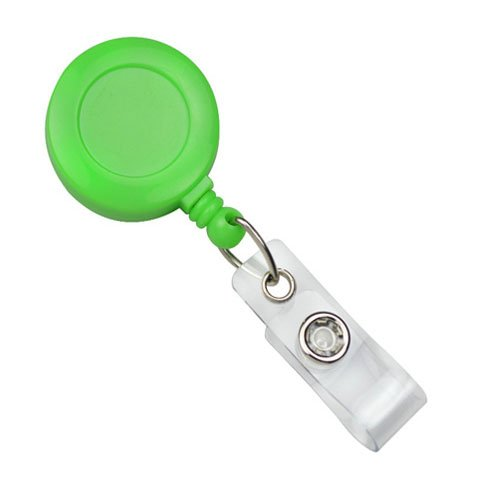 Neon Green Badge Reel With Clear Vinyl Strap And Belt Clip - 25pk (2120-3084), MyBinding brand Image 1