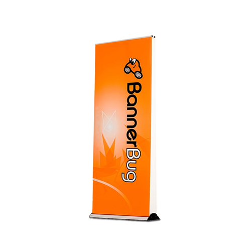 """Drytac Banner Bug 94.5"""" x 85.375"""" Retractable Banner Stand - Silver (Single-Sided with 3 Poles) (DU1244), Laminators Image 1"""