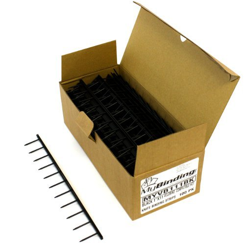 "Black 1"" x 11"" Velobind Compatible Hot Knife Binding Strips (MYVB111BK) Image 1"