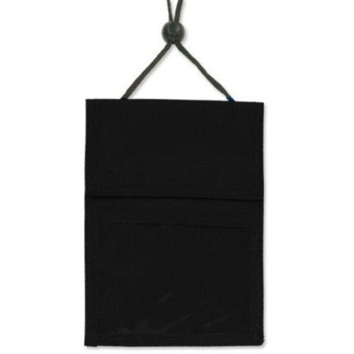Black 3-Pocket Credential Holder with Pen Pocket and Cord - 25k (1860-2501) Image 1