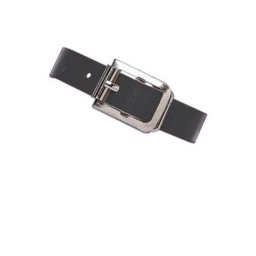 "Black 5-3/8"" x 3/8"" Leather Luggage Strap with Nickel Buckle - 25pk (2420-1071) Image 1"