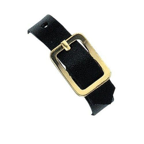 "Black 6"" x 3/8"" Genuine Leather Luggage Straps - 25pk (2420-1041) Image 1"