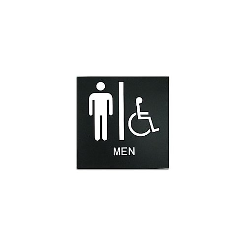 "Black 8"" x 8"" Men Handicap Accessible ADA Sign (97PPE41010003) - $11.19 Image 1"