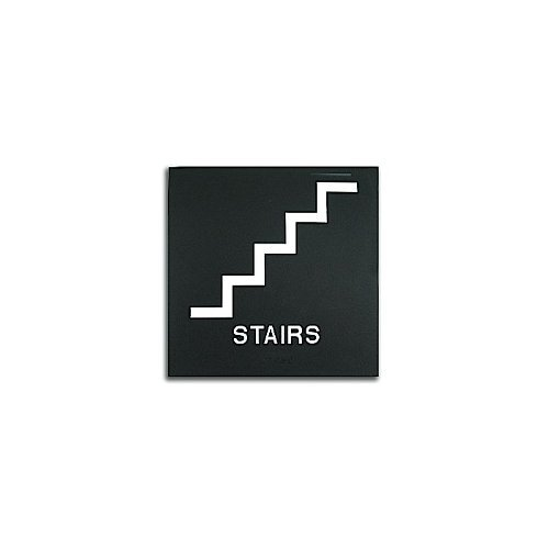 "Black 8"" x 8"" Stairs ADA Sign (97PPE41010005) - $11.19 Image 1"