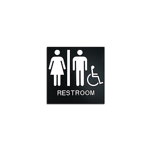 "Black 8"" x 8"" Unisex Restroom Handicap Accessible ADA Sign (97PPE41010007) - $11.19 Image 1"