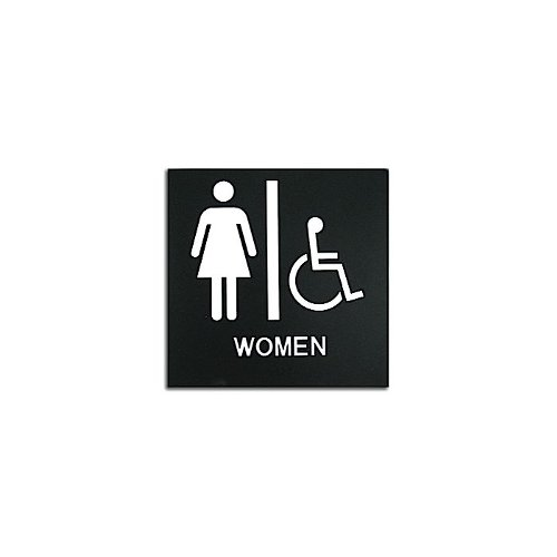 "Black 8"" x 8"" Women Handicap Accessible ADA Sign (97PPE41010009) - $11.19 Image 1"