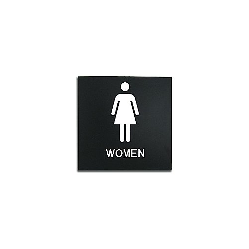 "Black 8"" x 8"" Women Restroom ADA Sign (97PPE41010008) - $11.19 Image 1"