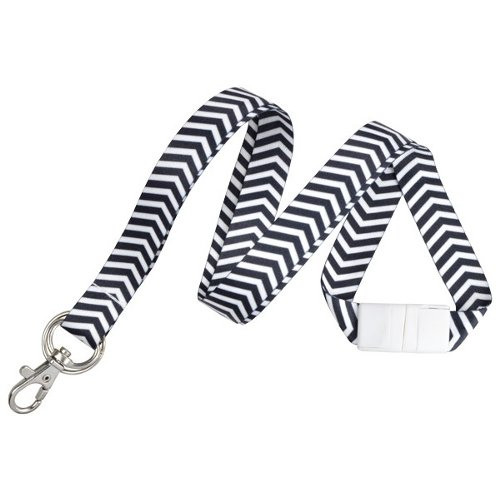 Black and White ZigZag Pattern Fashion Lanyard with Trigger Hook and Split Ring - 10pk (2138-6281) Image 1