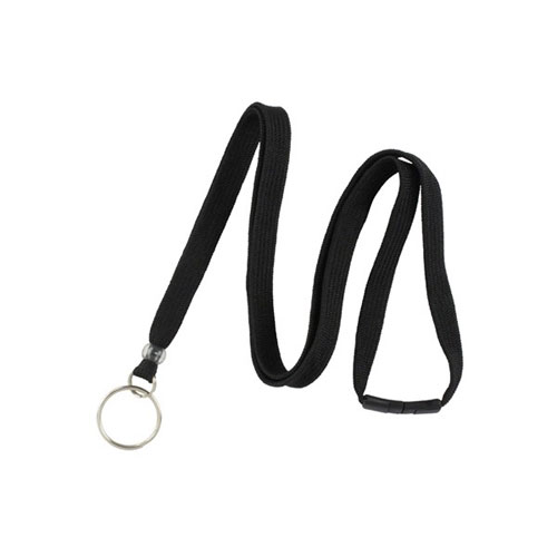 "Black Breakaway Lanyard with Ring - 3/8"" - 100pk (MYIDBL34RBLK) - $44.01 Image 1"