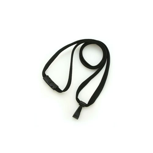 "Black Breakaway Lanyard with Twist-Free Wide Plastic Hook - 3/8"" - 100pk (MYIDBL34HBLK) Image 1"