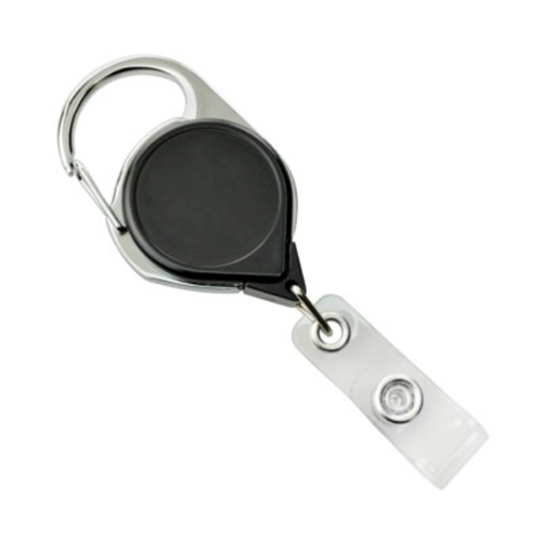 Black Carabiner Badge Reel with Strap and NPS Belt Clip - 25pk (704-CLP-BLK), Id Supplies Image 1