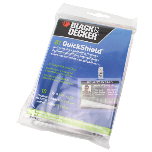 Black & Decker QuickShield SelfSeal Id Badge Laminating Pouches - 10pk (ID-10HSS) Image 1