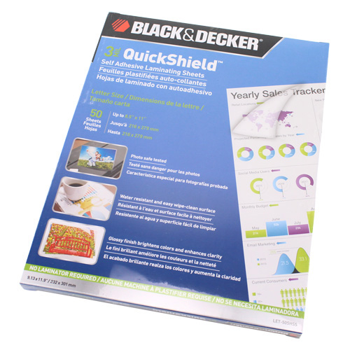 Black & Decker QuickShield SelfSeal Letter Size Laminating Sheets - 50pk (LET-50SHSS) Image 1