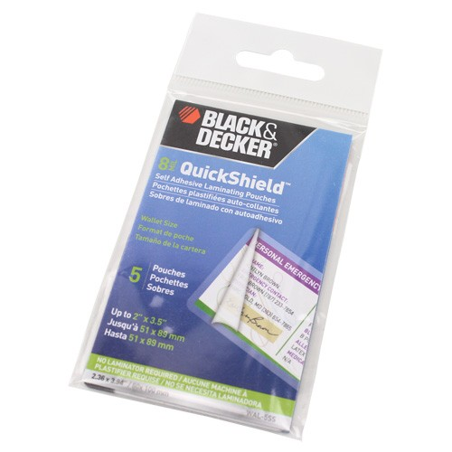 Black & Decker QuickShield SelfSeal Wallet Size Laminating Pouches (BDQSWSLP), Pouches Image 1
