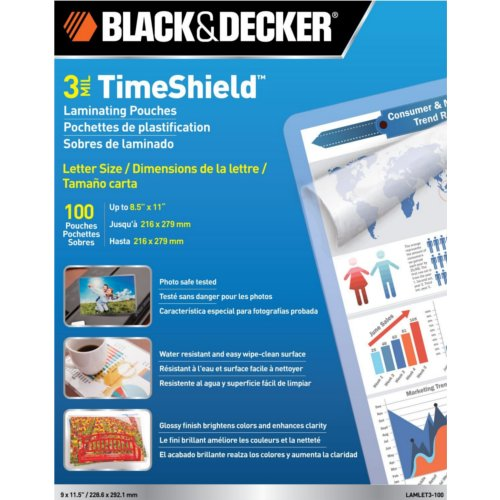 Black & Decker TimeShield 3 Mil Letter Size Laminating Pouches 100pk (LAMLET3-100)