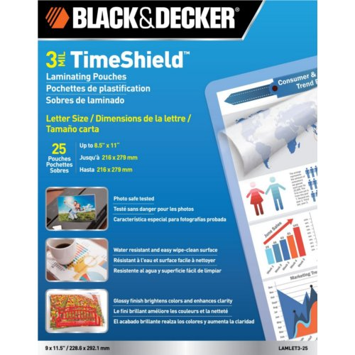 Black & Decker TimeShield 3 Mil Letter Size Laminating Pouches 25pk (LAMLET3-25)