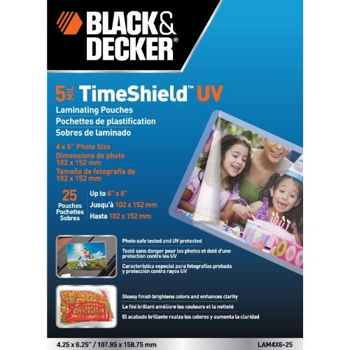 "Black & Decker TimeShield 4"" x 6"" Photo Size Laminating Pouches 25 pk (LAM4X6-25)"