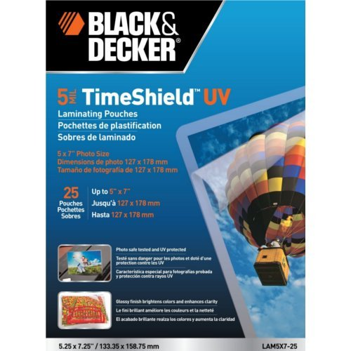 "Black & Decker TimeShield 5"" x 7"" Photo Size Laminating Pouches 25 pk (LAM5X7-25)"