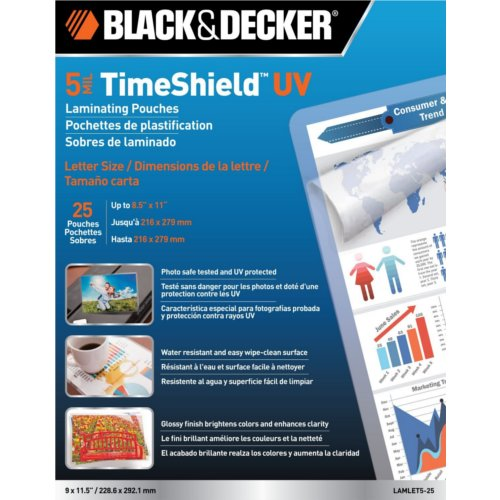 Black & Decker Timeshield 5 Mil Letter Size Laminating Pouches 25pk (LAMLET5-25) - $17.79 Image 1