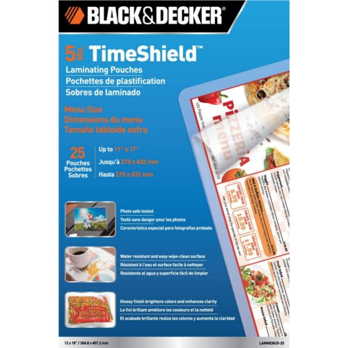Black & Decker TimeShield 5 Mil Menu Size Laminating Pouches 25pk (LAMMENU5-25)