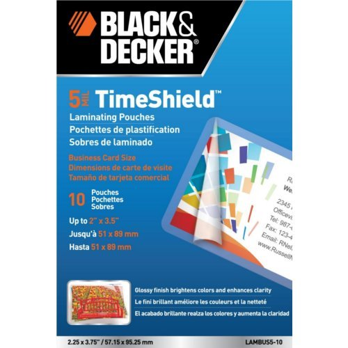 Black & Decker TimeShield Business Card Size Laminating Pouches 10pk (LAMBUS5-10)